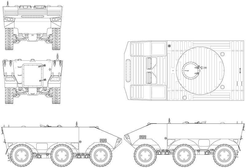Scale drawing of the armoured vehicle prototype SEP, made in Illustrator, based on photographs. To be used in a future article about the SEP in a magazine.