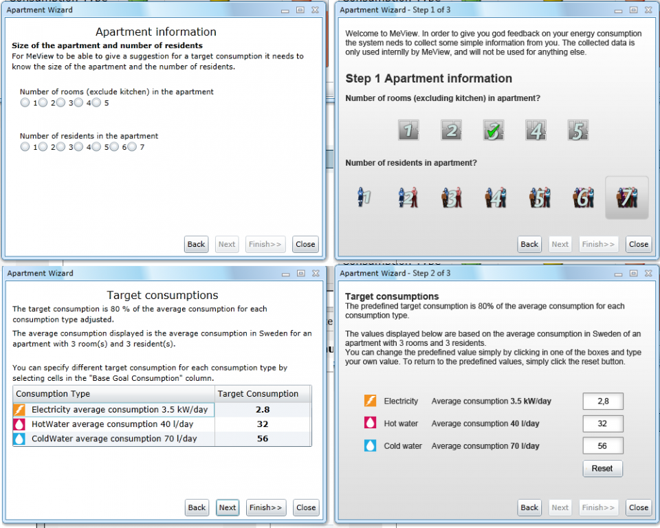These images are parts of a wizard in which the user sets the relevant energy consumption targets in the application above. The left alternatives are the developers take on design, the right alternatives are my suggestions. In the top pair of examples, the user enter the size of the apartment and number of residents. In the lower examples, the user is allowed to change the default values, to be able to save energy more aggressively, or not.