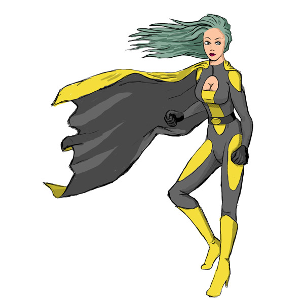 Super heroine, drawn by hand, scanned and coloured in Photoshop. Made for an internal company presentation.